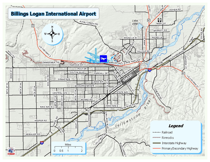 Directions Maps Billings Airport MT Official Website - Mt map